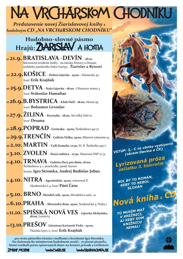 Žiarislav – Na vrchárskom chodníku – uvedenie novej knihy  s CD 21.9. – 13.10.18